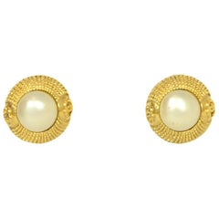 Chanel Vintage Faux Pearl and Goldtone Clip Earrings