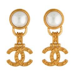 Chanel Vintage Faux Pearl CC Drop Earrings 1994