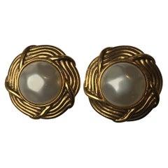 Chanel Vintage Faux Pearl Clip-On Earrings