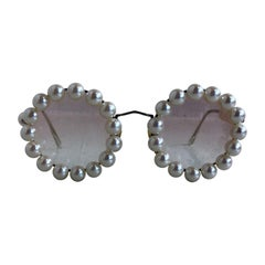Chanel Vintage Faux Pearl Round Sunglasses