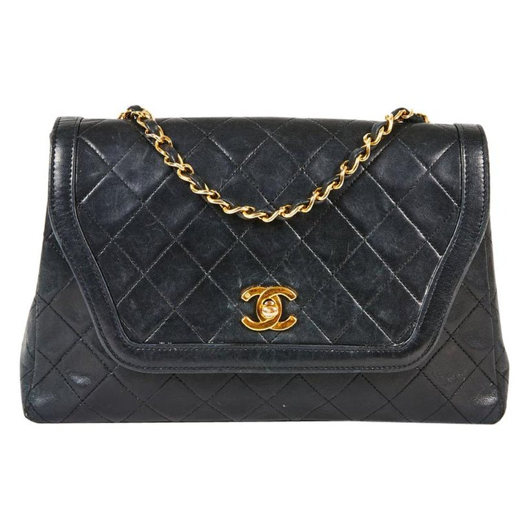 e3c00255bf08f9 Chanel Vine Flap Bag In Black Quilted Smooth Lambskin Leather At