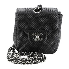 Chanel Vintage Flap Crossbody Bag Quilted Perforated Lambskin Mini