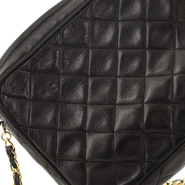 Chanel Vintage Front Pocket Camera Bag Quilted Lambskin Small For Sale 6