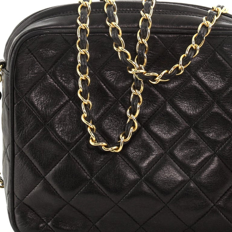 Chanel Vintage Front Pocket Camera Bag Quilted Lambskin Small For Sale 7