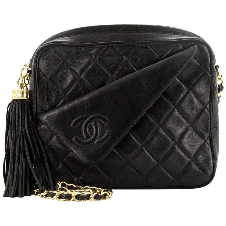 Chanel Vintage Front Pocket Camera Bag Quilted Lambskin Small For Sale