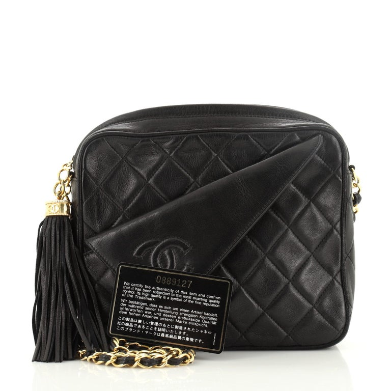 Chanel Vintage Front Pocket Camera Bag Quilted Lambskin Small In Fair Condition For Sale In New York, NY