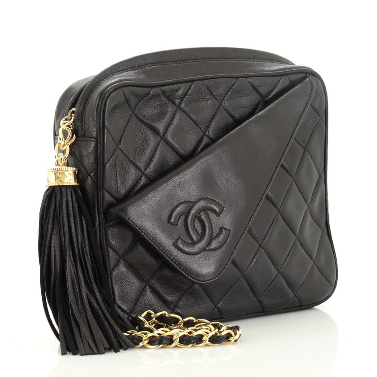 Women's or Men's Chanel Vintage Front Pocket Camera Bag Quilted Lambskin Small For Sale