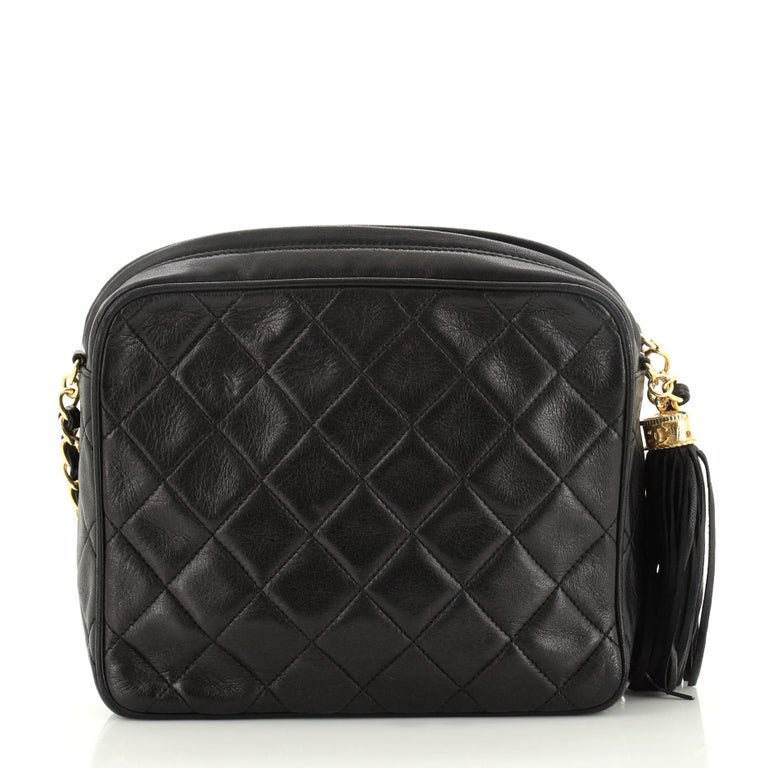 Chanel Vintage Front Pocket Camera Bag Quilted Lambskin Small For Sale 1
