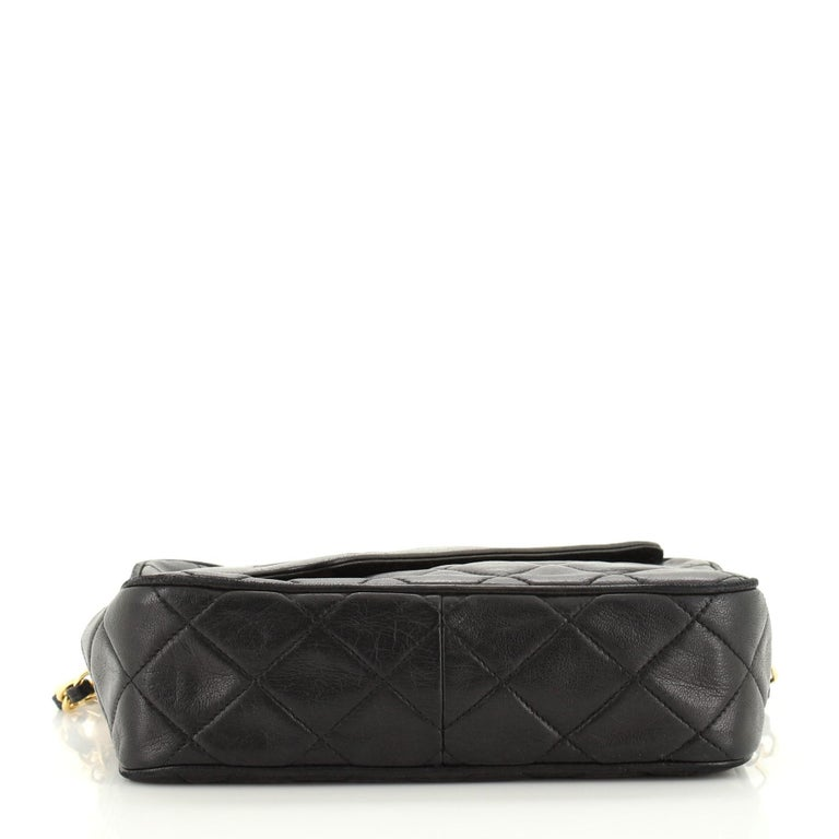 Chanel Vintage Front Pocket Camera Bag Quilted Lambskin Small For Sale 2