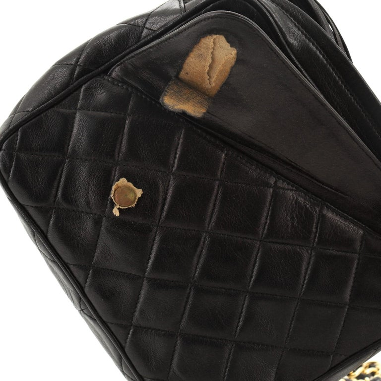 Chanel Vintage Front Pocket Camera Bag Quilted Lambskin Small For Sale 4