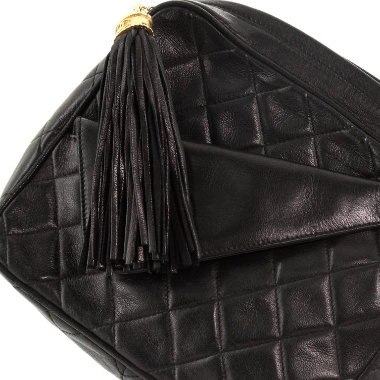 Chanel Vintage Front Pocket Camera Bag Quilted Lambskin Small For Sale 5