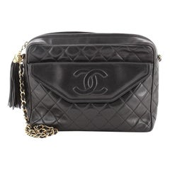 Chanel Vintage Front Pocket Camera Bag Quilted Leather Large