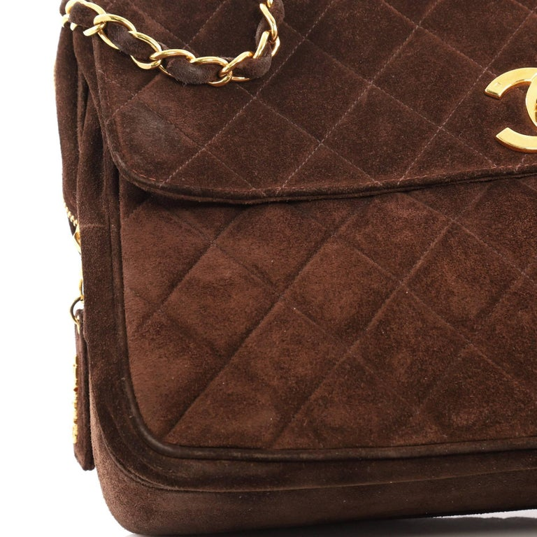 f2afa76759187 Chanel Vintage Front Pocket Camera Bag Quilted Suede Maxi For Sale 2