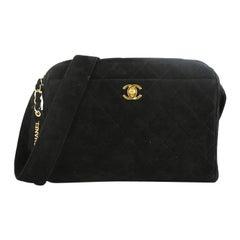 Chanel Vintage Front Pocket Camera Bag Quilted Suede Medium