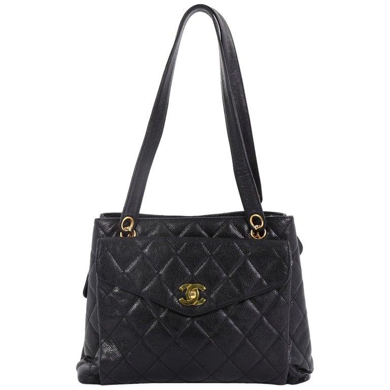 Chanel Vintage Front Pocket Shoulder Bag Quilted Caviar