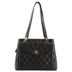 Chanel Vintage Front Pocket Shoulder Bag Quilted Caviar Medium