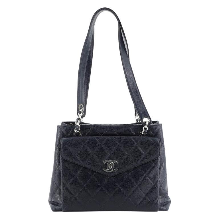 Chanel Vintage Front Pocket Shoulder Bag Quilted Caviar Medium For Sale