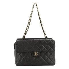 Chanel Vintage Front Pocket Shoulder Bag Quilted Caviar Small