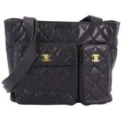 Chanel Vintage Front Pocket Tote Quilted Caviar Medium