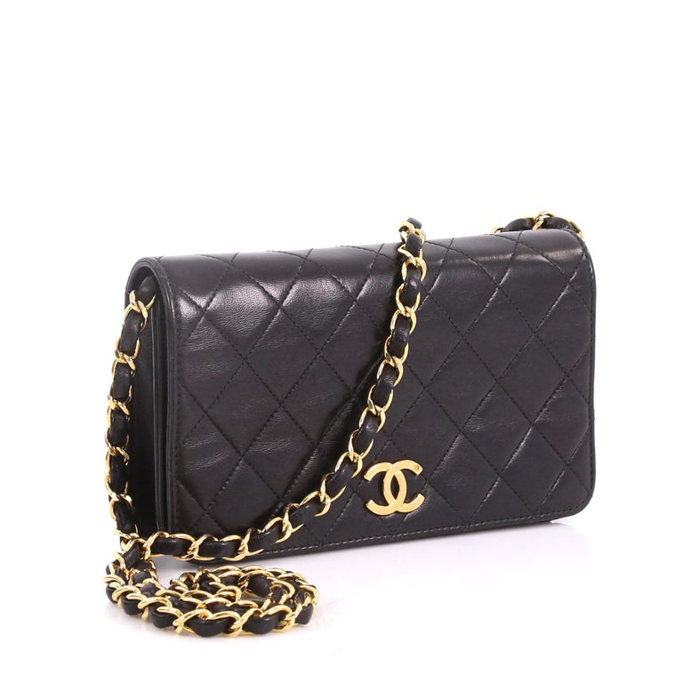 15795e2fefaad3 Black Chanel Vintage Full Flap Bag Quilted Lambskin Mini For Sale