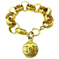 Chanel Vintage Gold Charm CC Coin Link Evening Bracelet