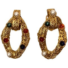 Chanel Vintage Gold Filagree Glass Bead and Pearl Hoop Clip On Earrings