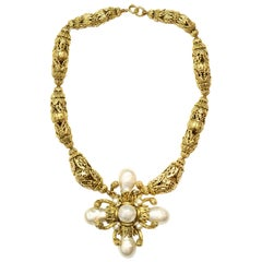 Chanel Vintage Gold Filigree Necklace W/ Faux Pearl Cross