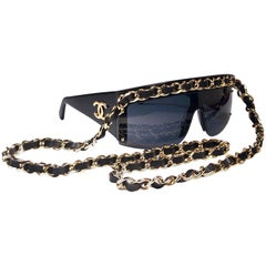 Chanel Vintage Gold Hardware Fall / Winter  1992 Sunglasses Made In Italy