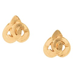 Chanel Vintage Gold Heart Small Charm Evening Stud Earrings in Box