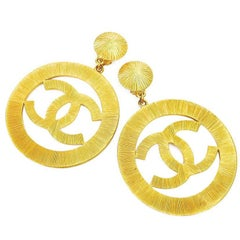 Chanel Vintage Gold Jumbo Dangling Earrings