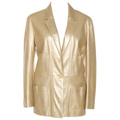 Chanel Vintage Gold Leather Blazer L