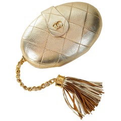 Chanel Vintage Gold Leather Oval Evening Clutch