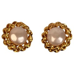 Chanel Vintage Gold Metal and Glass Pearls Clip On Earrings