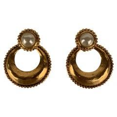 Chanel Vintage Gold Metal Faux Pearls Hoop Two Way Earrings