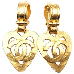 Chanel Vintage Gold Metal Heart CC Evening Drop Dangle Earrings II
