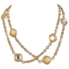 Chanel Vintage Gold Metal Quilted Necklace with Crystals
