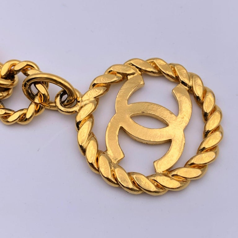 Chanel Vintage Gold Metal Ring Chain Belt with CC Pendant 3