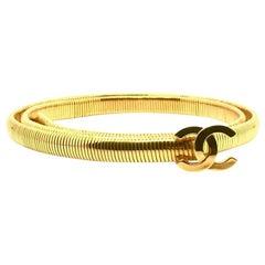 CHANEL Vintage Gold Metal Snake Belt