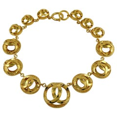 Chanel Vintage Gold Tone Domed CC Medallion Collar Necklace