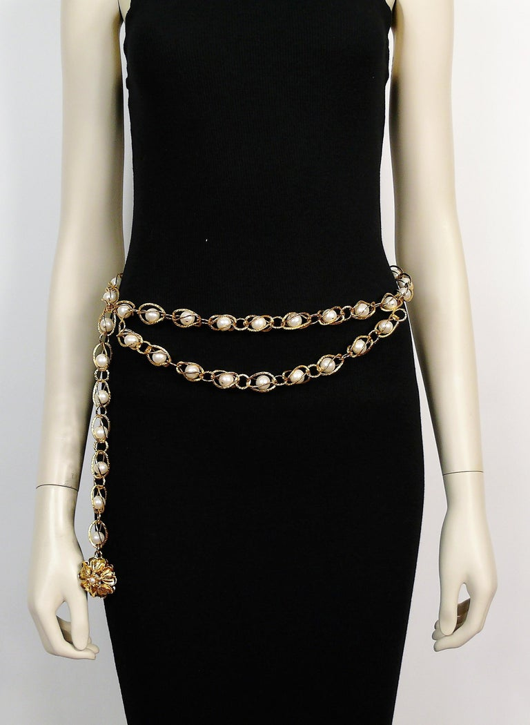 Chanel Vintage Gold Toned Caged Pearl Belt For Sale 5