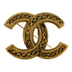 Chanel Vintage Gold Toned CC Brooch