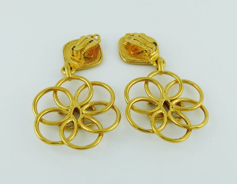 Chanel Vintage Gold Toned CC Flower Dangling Earrings For Sale 1