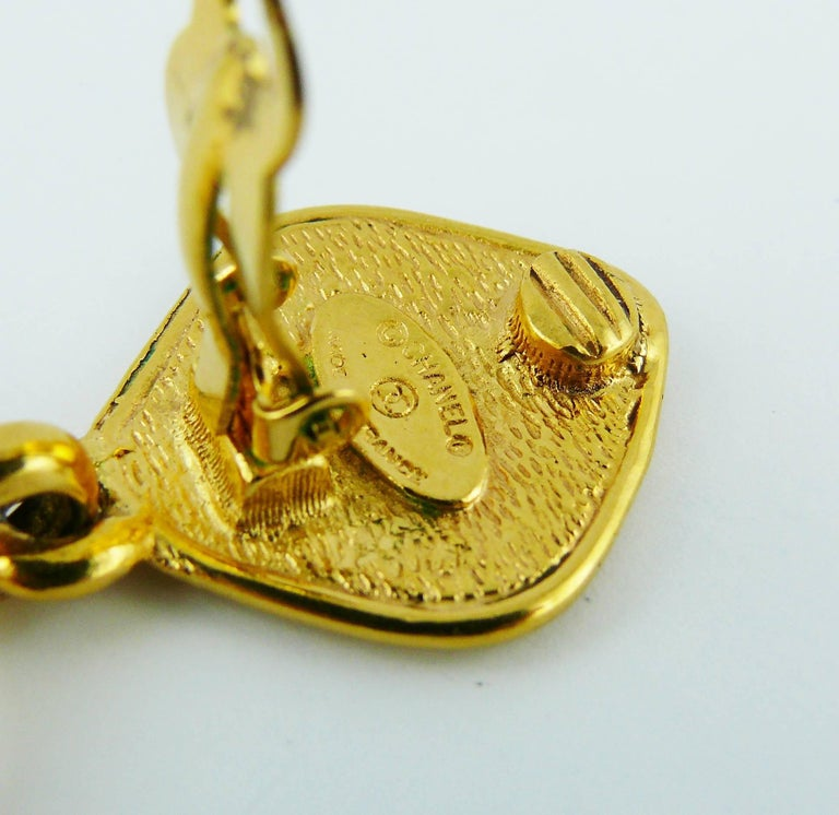 Chanel Vintage Gold Toned CC Flower Dangling Earrings For Sale 2