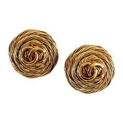 Chanel Vintage Gold Toned Clip-on Earrings CC Symbol