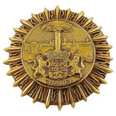 Chanel Vintage Gold Toned Coat of Arms Sunburst Brooch