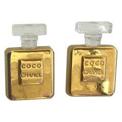 Chanel Vintage Gold Toned Coco Perfume Bottle Clip-On Earrings