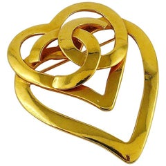 Chanel Vintage Gold Toned Double Heart CC Brooch