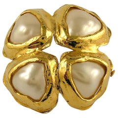 Chanel Vintage Gold Toned Hearts Brooch
