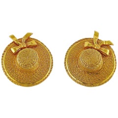 Chanel Vintage Gold Toned Iconic Prairie Straw Hat Clip On Earrings