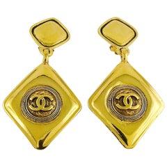 CHANEL Vintage Gold Toned Logo Diamond Shape Dangling Earrings